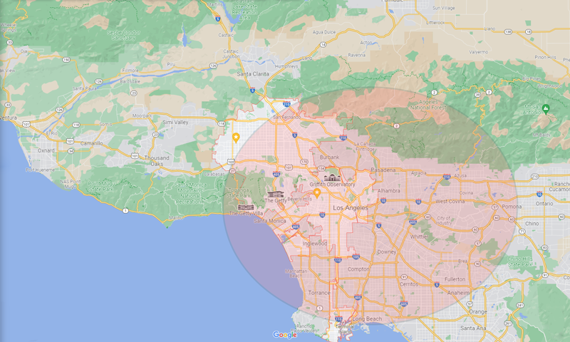 Map of Los Angeles depicting where I am willing to work